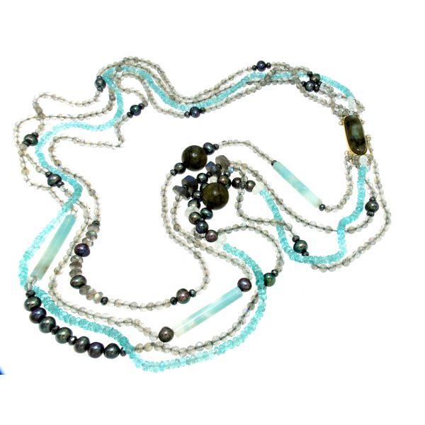 Collana multifili di labradorite apatite amazzonite