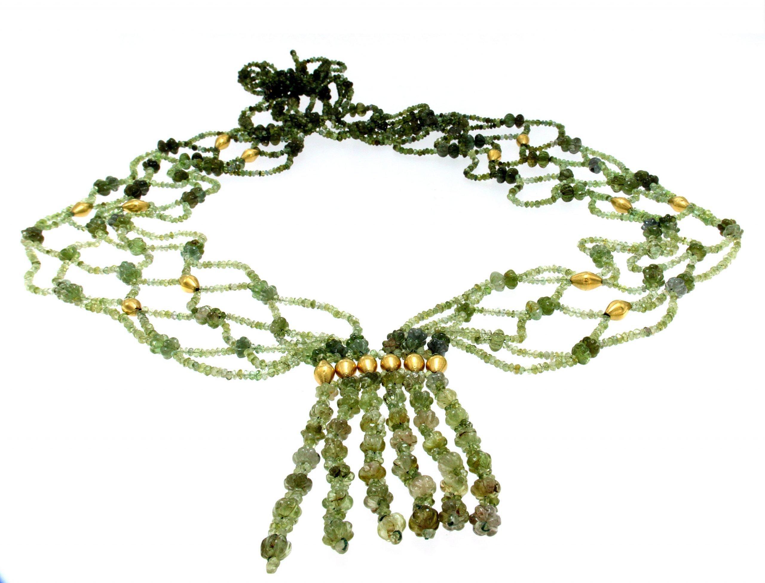 Collana multifili di tormalina verde