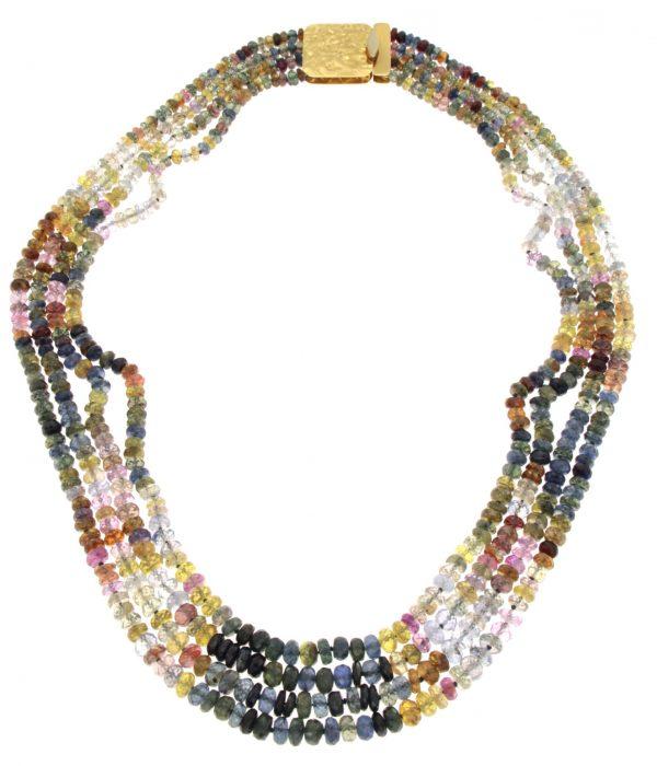 Collana multifilo di zaffiri multicolor