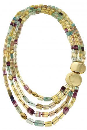 Collana multifilo in fluorite naturale e fermaglio in oro
