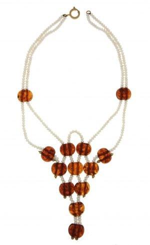 Collana multifilo in perle coltivate e ambra del mar baltico naturale