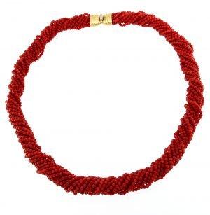 Collana torchon di corallo naturale sardo rosso