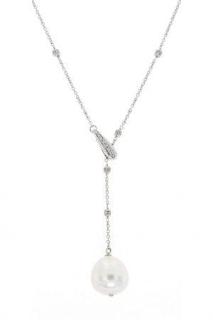Collier in oro bianco con diamanti e perla australiana