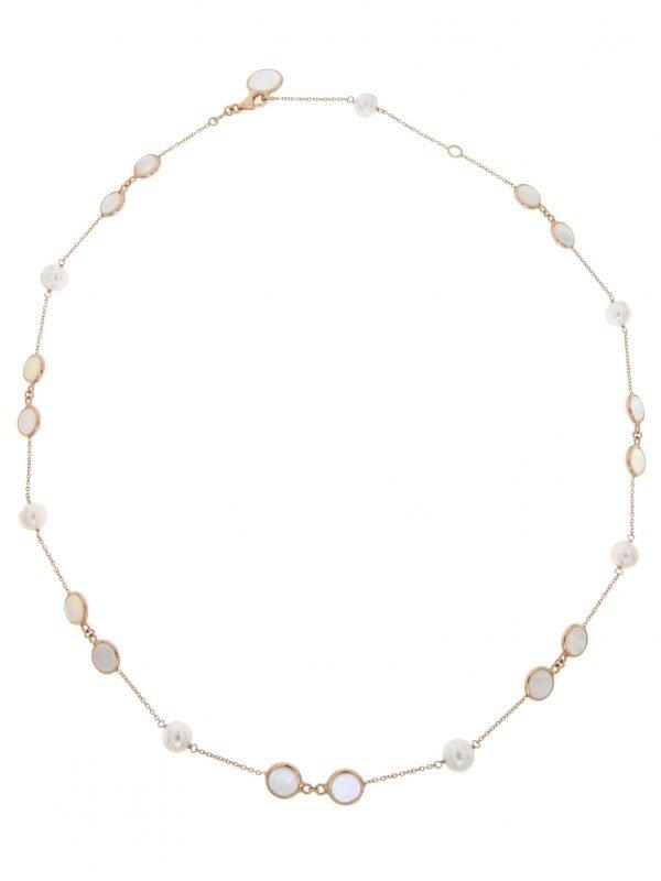 Collier in oro con madreperla e perle coltivate