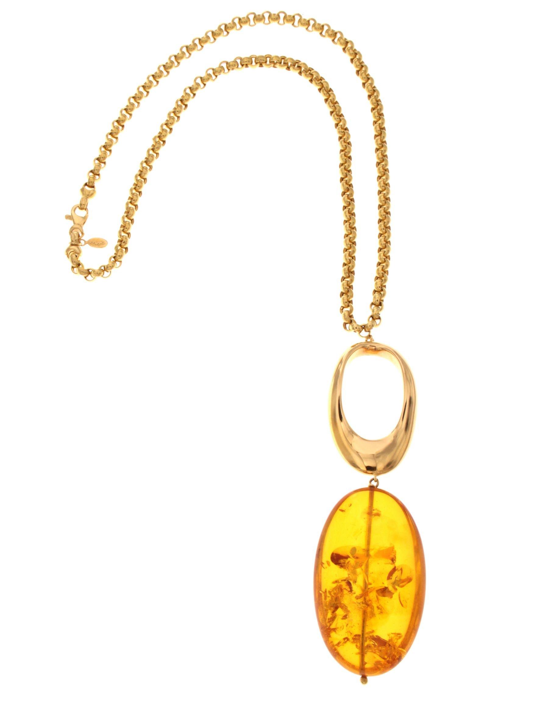 Collier in oro con pendente in ambra naturale del mar baltico