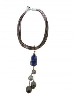 Collier in tessito cerato con pendente in oro rosa pietre di ematitie  cianite perla di tahiti