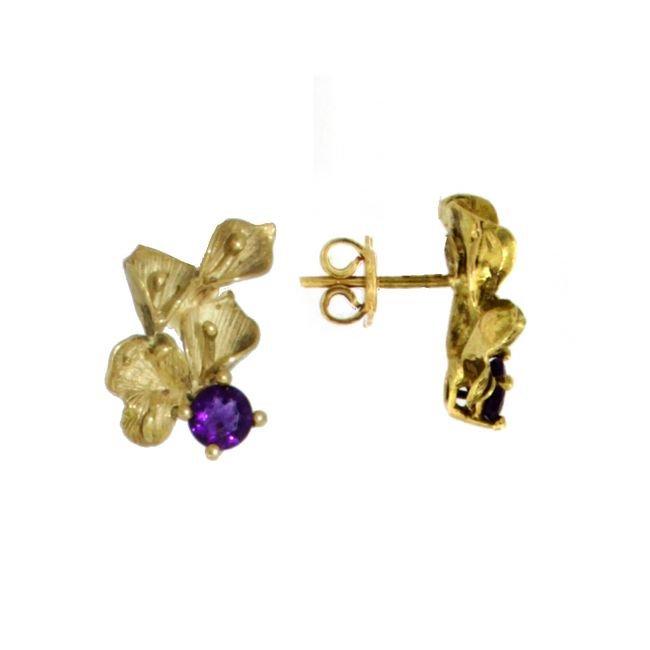 Orecchini a lobo a forma di foglia in oro e gemma di ametista con taglio brillante