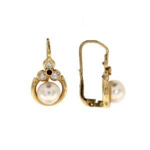 Orecchini a monachella con perla di mare e zirconi