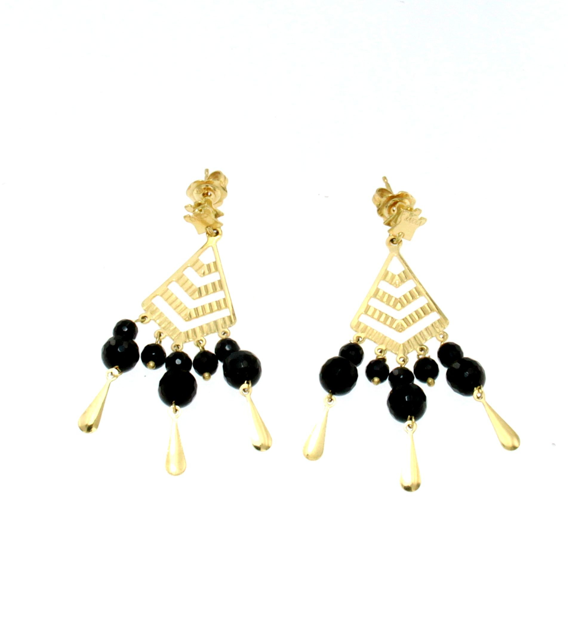 Orecchini chandelier di onice nero