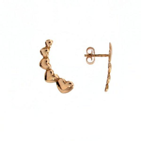 Orecchini in oro orecchio a forma di cuori consecutivi