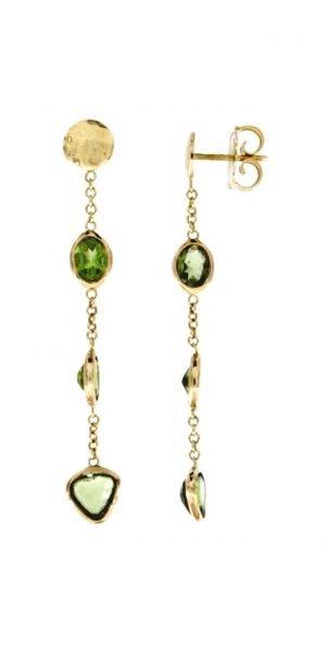 Orecchini pendenti con gemme di peridoto naturale