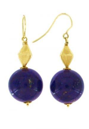 Orecchini pendenti in oro con boules di lapislazzuli naturale