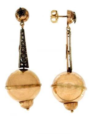 Orecchini pendenti in oro con diamanti taglio rosa