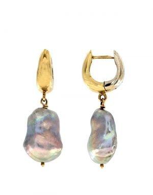 Orecchini pendenti in oro con perla grigia di acqua dolce naturale barocca
