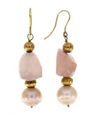 Orecchini pendenti in oro con quarzo rosa e perle naturali di acqua dolce