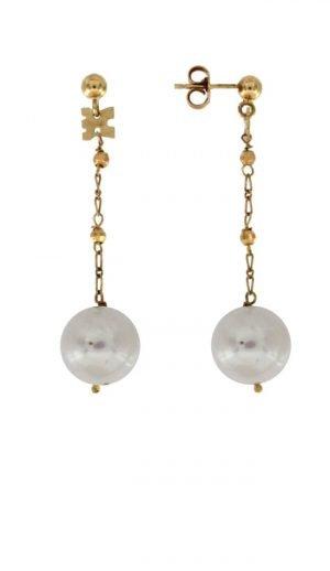 Orecchini pendenti in oro e perla coltivata di fiume naturale