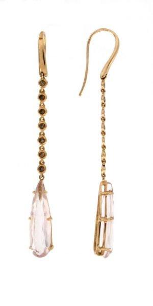 Orecchini pendenti in oro rosa con quarzo rosa e brillanti