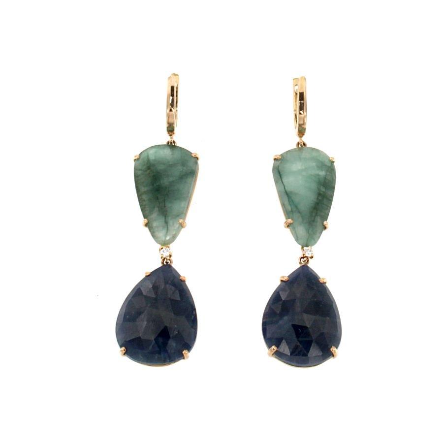Orecchini pendenti zaffiri smeraldi e brillanti